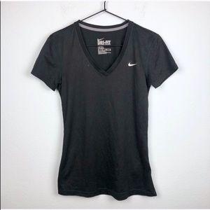 Nike Dri Fit V-Neck Tee Black Short Sleeve Workout